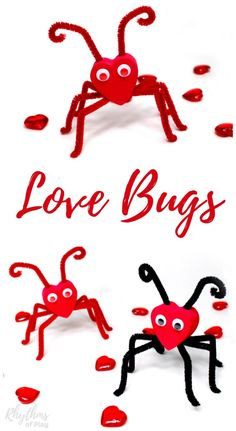 LOVE BUGS! Valentine Craft Ideas For Kids. Valentine heart love bugs are an easy fine motor craft perfect for preschoolers and older kids too. These little cuties make a great gift idea for Valentine's Day!