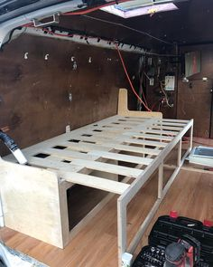 Pull out couch / bed Custom pull out couch / bed in a Chevy van. Pull out couch / bed Custom pull out couch / bed in a Chevy van. Camper Beds, Truck Bed Camper, Mini Camper, Van Conversion Interior, Camper Van Conversion Diy, Van Conversion Bed Frame, Campervan Bed, Chevy Van, Chevrolet Van