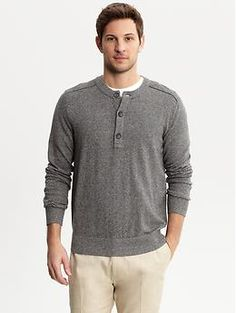 He doesn't usually like long-sleeved shirts, or buttons... but this would look hot on him.