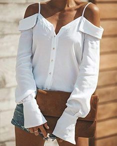 Sexy V Neck Button Blouse Off Shoulder Women Tops Autumn Long Sleeve Solid Streetwear Shirts Casual Backless Strap Blusas Spring Collars For Women, Blouses For Women, Ladies Blouses, Outfits Con Camisa, Long Sleeve Tops, Long Sleeve Shirts, Slash, Collar Styles, Long Blouse