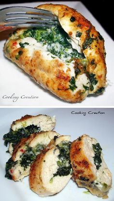 Cajun Chicken Stuffed with Pepper Jack Cheese  Spinach