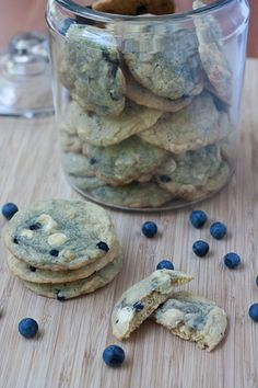 Blueberry White Chocolate Chip Cookies.  1 cup unsalted butter, softened 1 cup granulated sugar 3/4 cup brown sugar 2 eggs 2 teaspoons vanilla 2 cups all-purpose flour 1 cup whole wheat pastry flour 1/2 teaspoon baking soda 1 teaspoon salt 2 cups white chocolate chips 1 1/2 cups blueberries, washed and patted dry