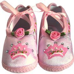 Pintado à mão-de-rosa Coroa berço sapatos-Pink Crown sapatos Berço Pintado à mão do bebê, couture bebê bundinha, presente do bebê, sapato infantil, sapatos de bebê