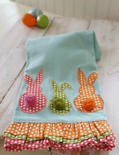 EASTER Bunny Rabbit Ruffle Edge Kitchen Tea TOWEL by ARTISTIC ACCENTS Blue Gift