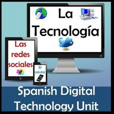 This Google Slides Spanish Social Media & Technology Unit has fun lessons, interactive social media templates and practices, a Guess That Social Media Game, and activities to teach an INTERACTIVE Tecnología Unit. This 117 slide Technology, Social Media & Cellphone Unit includes lessons to teach and reinforce technology vocabulary, cell phone uses and dangers, texting and driving, social media, and more. Word Wall Activities, Easel Activities, Spanish Activities, Learning Spanish, Learning Resources, Spanish Lesson Plans, Spanish Lessons, Technology Vocabulary, Online Spanish Classes