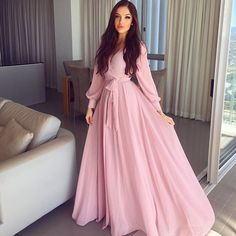 Long Sleeves V neckline Long Pink Chiffon Evening Dresses Prom Gown 1922 – Hijab Fashion 2020 Modest Fashion, Hijab Fashion, Muslim Fashion, Fashion Dresses, Fashion News, Women's Fashion, Chiffon Evening Dresses, Prom Dresses, Wedding Dresses