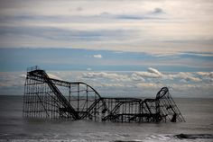 A roller coaster sits in the Atlantic Ocean after the Fun Town pier it sat on was destroyed by Superstorm Sandy in Seaside Heights, New Jersey.(Mark Wilson/Getty Images)