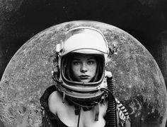 Bildergebnis für black and white collage astronaut