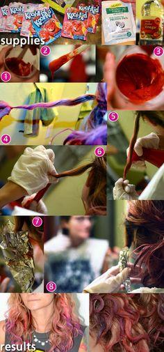 Pp: kool-aid dye job tutorial diy howto ombrehair fashion style colorfulhair pinkhair purplehair mermaidhair hair girl pink koolaid diy tutorial beauty