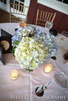 Centerpiece Featuring White and Blue Hydrangeas