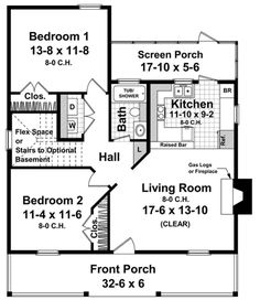 Cottage Style House Plans, Bedroom House Plans, Small House Plans, Cottage Homes, Cottage Plan, Farm House, Hall And Living Room, Living Room With Fireplace, Home Design