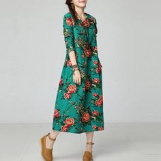 New Autumn  Ethnic Print Cotton Linen women dress Long sleeve O-Neck Casual Loose Long Dresses robe