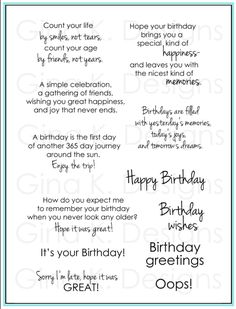 Birthday Greetings By Gina K Designs Nice Change From The Usual Wordings Is Creative Inspiration For Us Linda Duesterhoeft Card Verses