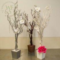 Manzanita Centerpiece Tree in White, Brown and Glittered Silver