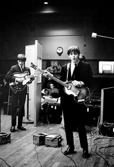 George and Paul at a BBC session, 1963.