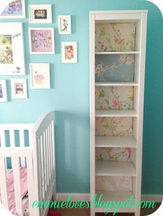 Easy lined bookshelf with wallpaper/scrapbook paper and cardboard.