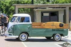 VW pick up with surf Board