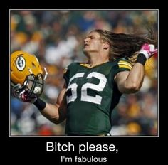 Long hair, don't care, Clay Matthews. Loved the Packers in Pitch Perfect 2 lol. Clay Matthews wants that D&B gift card!