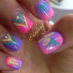 Bright, colorful nail art, similar to tie-dye