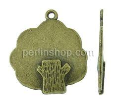 Zinklegierung Blatt Anhänger, Baum, antike Bronzefarbe plattiert, frei von Nickel, Blei & Kadmium, 26x23x3mm, Bohrung:ca. 1.5mm, ca. perlinshop.com