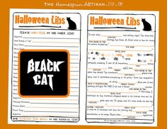 HALLOWEEN Mad Libs - PDF File - Black Cat - Harvest Party Game for ...