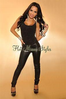 $44.99: Black Faux Leather Accent Leggings