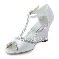 Wedding Shoes - $69.99 - Women's Satin Wedge Heel Peep Toe Sandals Wedges With Beading (047011824) http://jjshouse.com/Women-S-Satin-Wedge-Heel-Peep-Toe-Sandals-Wedges-With-Beading-047011824-g11824