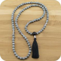 Matte Gray Druzzy Agate Meditation Beads Necklace with Matte Black Onyx