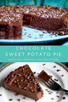 A beautifully creamy, healthy, chocolate sweet potato pie with a soft and chewy brownie crust. It's gluten and grain free, dairy free, nut f. Köstliche Desserts, Gluten Free Desserts, Dairy Free Recipes, Raw Vegan Desserts, Paleo Dessert, Dessert Recipes, Nut Free, Grain Free, Healthy Treats