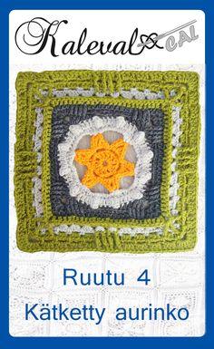 Ravelry: Hidden Sun pattern by Susku Öysti Plaid Crochet, Crochet Bunting, Crochet Blocks, Crochet Squares, Crochet Granny, Knit Crochet, Crochet Hats, Granny Squares, Crochet Afghans