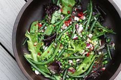 Vibrant peas and beans are tossed with red onion, garlic, red chile, lemon zest, and tarragon then dressed in coriander and mustard seed-infused olive oil.