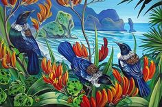 North side of Piha beach, New Zealand. Tui birds in the flax Traditional Decorative Art, Tui Bird, Colors Of Fire, New Zealand Art, Nz Art, Thing 1, Framed Prints, Canvas Prints, Wall Art For Sale