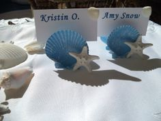Beach Place Card Holder in our Beach Blue with White Knobby Starfish - Set of 6