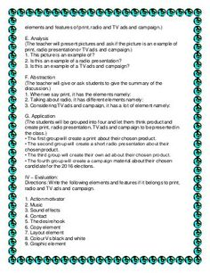 A Semi – detailed Lesson Plan in English for Grade 7 I – Objectives: Within the discussion,the students are expected to: a. decide if the given jumbled words a… 4a's Lesson Plan, Lesson Plan Examples, Teacher Lesson Plans, Lesson Planning, English Lesson Plans, English Lessons, Arabic Alphabet For Kids, Visual Aids, Tv Ads