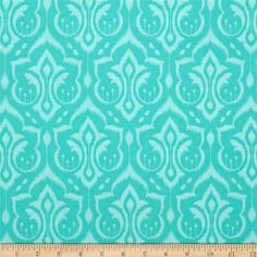 Michael Miller Emma's Garden Ikat Damask Turquoise from @fabricdotcom  Designed by Patty Sloniger for Michael Miller, this cotton print is perfect for quilting, apparel and home decor accents.  Colors include aqua and turquoise.