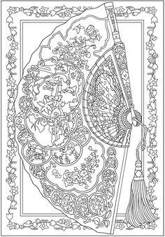 creative haven vintage hand fans coloring book dover publications samples