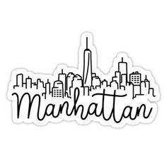 'manhattan skyline' Sticker by stickerzaf - Aesthetic stickers Tumblr Stickers, Phone Stickers, Cute Stickers, Best Travel Journals, Manhattan Skyline, Usa Tumblr, Aesthetic Stickers, Printable Stickers, Gossip Girl