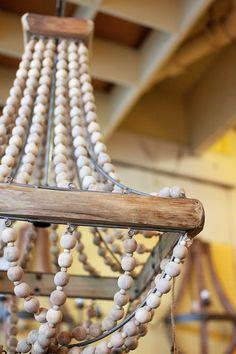wood bead chandelier wooden - Wood Bead Chandelier
