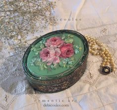 Romantic French Roses Vintage Glass Dresser Box by Debi Coules