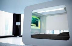 Futuristic bed with screen