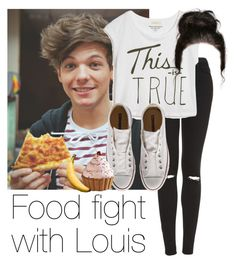 """REQUESTED: Food fight with Louis"" by style-with-one-direction ❤ liked on Polyvore featuring Topshop, True Religion, Converse, Nordic Ware, Totally Bamboo, OneDirection, 1d, louistomlinson and louis tomlinson one direction 1d"