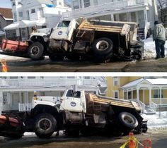 SINKHOLE SWALLOWS PLOW TRUCK IN CLEVELAND, UNITED STATES