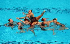 Ukraine compete during the Synchronized Swimming Free Combination Final on day eight of the 15th FINA World Championships at Palau Sant Jordi on July 27, 2013 in Barcelona, Spain.