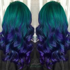 ombre haar 41 Bold and Beautiful Blue Ombre Hair Color Ideas StayGlam - Page 3 Purple Ombre, Green Hair Ombre, Purple And Green Hair, Ombre Curly Hair, Light Blue Hair, Brown Ombre Hair, Ombre Hair Color, Hair Color Balayage, Cool Hair Color