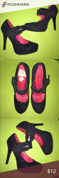Black Madeline Stuart Mary Janes Black Mary Janes with red inside. Size 7.5 Madeline Stuart Shoes Heels