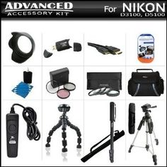 """Advanced Accessory Bundle Kit For Nikon D5200, D3200 D3100 D5100 DSLR Camera Includes SD Memory Card Reader + Deluxe Carrying Case + 57"""" Pro Tripod + 67"""" Monopod + Gripster + Remote Shutter + Lens Hood + 3pc High Res. Filter Kit + Close Up Filter Set + by ButterflyPhoto. $69.95. This Kit Includes Everything You Need To Take Full Advantage Of Your New Nikon D5200 D3200 D3100 D5100 DSLR Camera Product Description Kit Includes:♦ 1) Xtreme - (6FT) HDMI Male to Mini HDMI ..."""