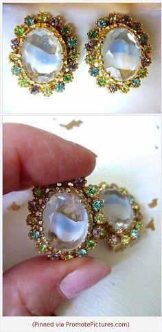 c520c642cc9cb6 Items similar to Signed ART Givre Earrings Ice Blue Glass, Pastel  Rhinestones, Vintage on Etsy