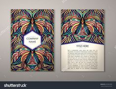 Flyer Template With Abstract Ornament Pattern. Vector Greeting Card Design. Front Page And Back Page. - 465062900 : Shutterstock