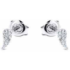 Cosanuova - Angel Wing Diamond Studs 14k White Gold (650 PLN) ❤ liked on Polyvore featuring jewelry, earrings, 14 karat gold earrings, 14k earrings, 14k stud earrings, white gold diamond earrings and diamond jewellery