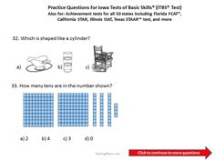 Practice Questions for the Iowa Test of Basic Skills (ITBS) 1st and 2nd grade. #Iowa #ITBS